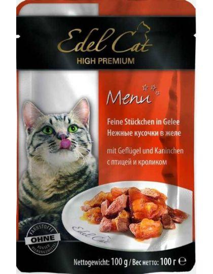 Консервы для кошек птица и кролик в желе