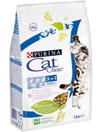 Feline с формулой тройного действия сухой корм для взрослых кошек с индейкой