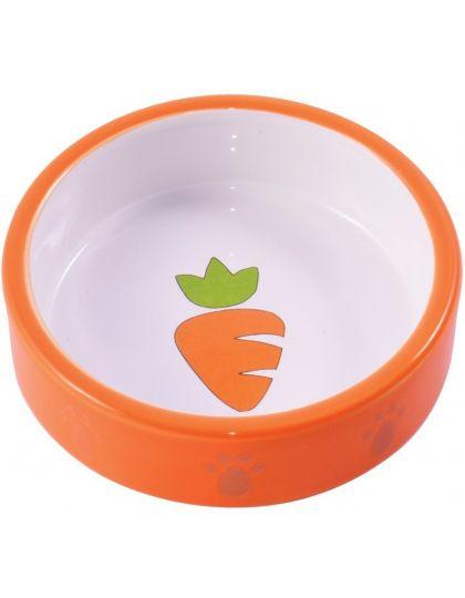 Миска керамическая для грызунов Оранжевая с морковью