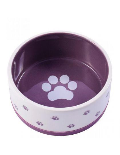 Миска керамическая нескользящая для собак белая с фиолетовым