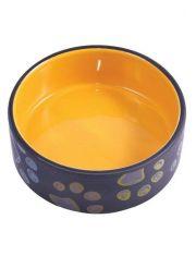 Миска керамическая для собак черная с желтым