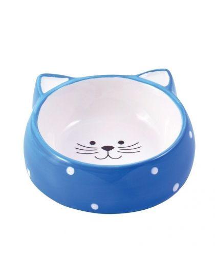 Миска керамическая для кошек Мордочка кошки голубая
