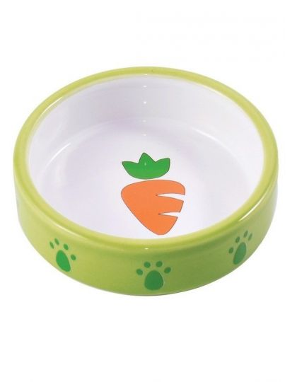 Миска керамическая для грызунов Зеленая с морковью