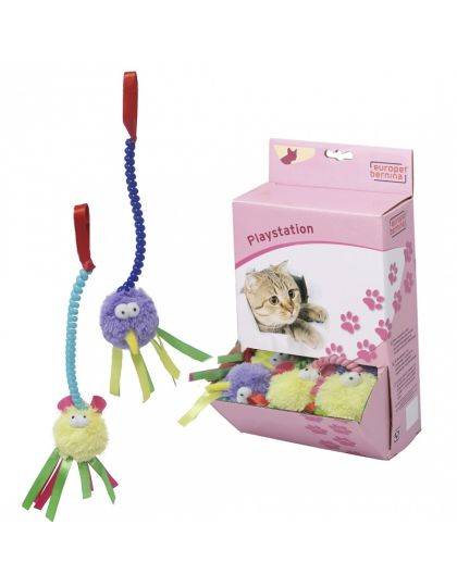 Игрушка для кошек мягкая Пушистик с лентами на пружинке, в ассортименте