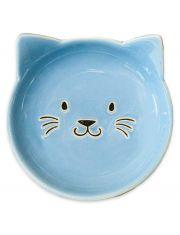 Блюдце керамическое Мордочка кошки, голубая
