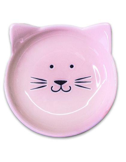 Блюдце керамическое Мордочка кошки, розовая