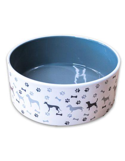 Миска для собак рисунком, серая