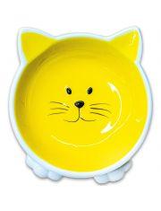 Миска керамическая для кошек Мордочка кошки на ножках, желтая