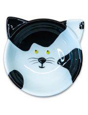 Миска керамическая для кошек Мордочка кошки, черно - белая