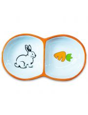 Миска для грызунов двойная, оранжевая