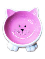 Миска керамическая Мордочка кошки на ножках, розовая