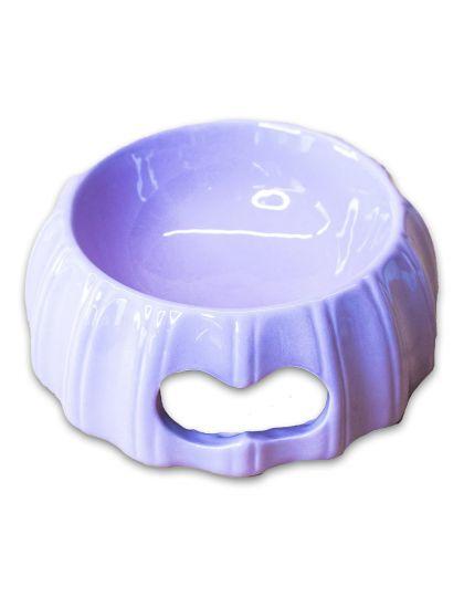 Миска керамическая с полосками лиловая
