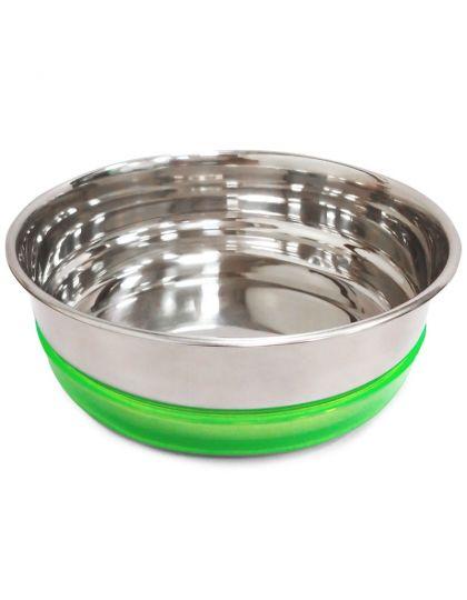 Миска металлическая с салатовой резинкой