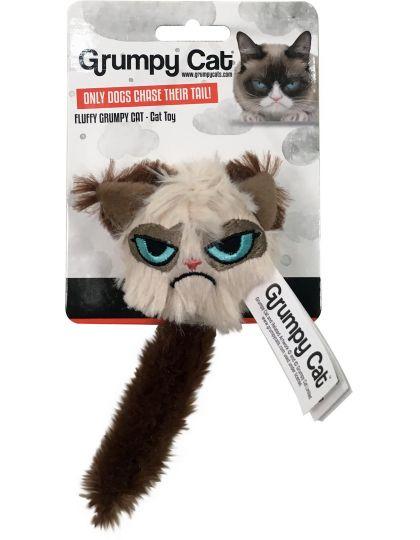 Игрушка для кошек мягкая Сердитый пушистик с хвостом, мультиколор