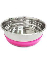 Миска металлическая с розовой резинкой