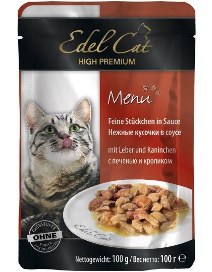 Edel Cat консервы для кошек соус печень и кролик
