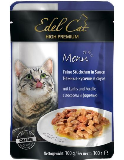 Edel Cat консервы для кошек соус лосось и форель
