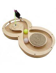 Игровой комплекс Восьмерка с шариками, игрушкой, когтеточкой из каната