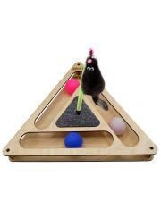 Игровой комплекс Треугольник с шариками, c игрушкой на пружине, c когтеточкой из ковра