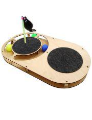 Игровой комплекс Овал с шариками, с площадкой из ковра, игрушкой на пружине, когтеточкой из ковра