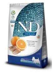 N&D OCEAN Herring & Orange Adult Mini беззерновой корм для мелких пород с сельдью и апельсином