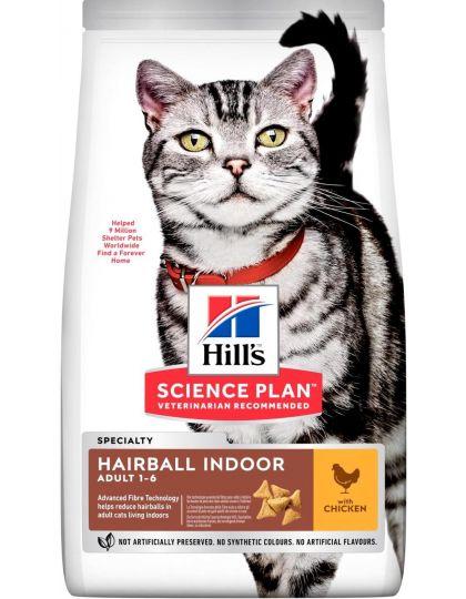 Science Plan Hairball Indoor для взрослых кошек, с курицей