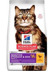Science Plan Sensitive Stomach & Skin для взрослых кошек с чувствительным пищеварением и кожей, с курицей