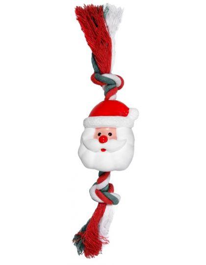 Игрушка NEW YEAR для собак Дед Мороз с веревкой
