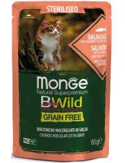 BWild GRAIN FREE паучи из лосося с креветками и овощами для стерилизованных кошек