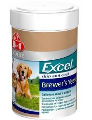 Комплексная добавка для кожи и шерсти с пивными дрожжами и чесноком для собак и кошек 8in1 Excel Brewer's Yeast