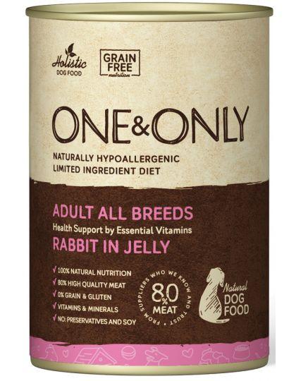 Кролик в желе консервы беззерновые для взрослых собак от 1 года