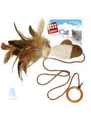 Дразнилка-рыбка для кошек с перьями, на резинке, с кошачьей мятой