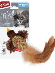 Птичка с перьями игрушка для кошек