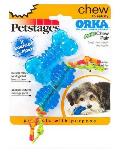 Набор из двух игрушек для собак мелких пород ОРКА косточка + гантеля ультра-мини