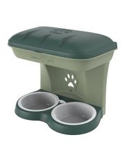Миска для собак настенная двойная, зеленая