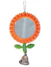 Зеркало-подсолнух с колокольчиком игрушка для птиц