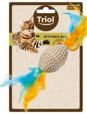 """Игрушка NATURAL для кошек из гофрокартона """"Мяч для регби с перьями"""""""