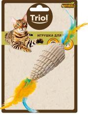 """Игрушка NATURAL для кошек из гофрокартона """"Конус с перьями"""""""