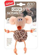 Мышка с плетеным мячиком с колокольчиком