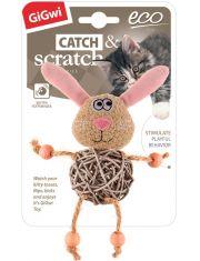 Заяц с плетеным мячиком с колокольчиком