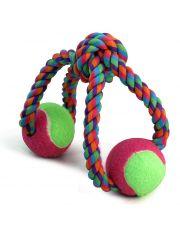 """Игрушка для собак """"Верёвка-восьмёрка, узел и 2 мяча"""