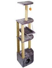 Домик-когтеточка 4-х уровневый угловой с гамаком (сизаль)