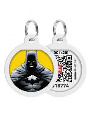 "Адресник WAUDOG Smart ID c QR паспортом, премиум, рисунок ""Бэтмен желтый"""