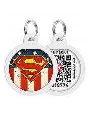 """Адресник WAUDOG Smart ID c QR паспортом, премиум, рисунок """"Супермен Америка"""""""
