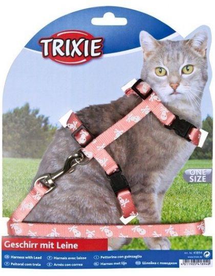 Шлейка с поводком для кошки, Нейлон, Черепа и кости