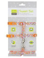 Smart шлейка с поводком для кошек и собак Seventies нейлон оранжевая