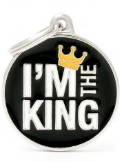 """Адресник Круг """"I'M The King"""", цвет черный"""