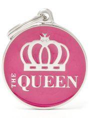 """Адресник Круг """"The Queen"""", цвет розовый"""
