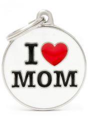 "Адресник Круг ""I Love Mom"", цвет белый"