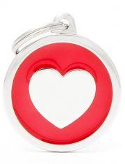 """Адресник Круг красный """"Сердце"""" большой Classic Big Red Circle Heart"""